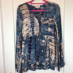Umgee Boho Lace Up Tunic Top Tie-Dye Print Small